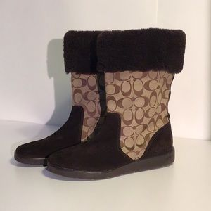 Coach Kally Boots Chocolate Suede Size 9.5 B